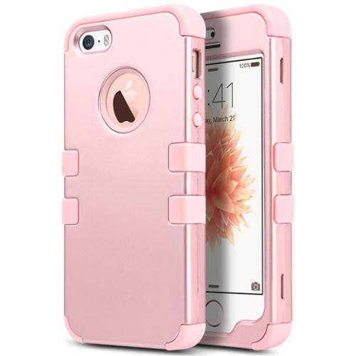 iPhone SE Case,ULAK iPhone 5S Case, 3 in 1 PC+Silicone Hybrid Shock-Absorbing Anti-slip Phone Cover for iPhone SE 5S 5, Rose gold + Rose