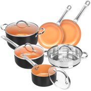 SHINEURI 10 pieces Copper Cookware Set Non-stick Cooking Pots and Pans Set Casserole with Steamer Ceramic Coating Induction Frying Pan(Black)