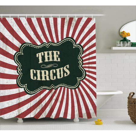 Circus Decor  Classical Circus Show Event Banner Advertisement Antique Art Logotype Art, Bathroom Accessories, 69W X 84L Inches Extra Long, By Ambesonne (Circus Decor)