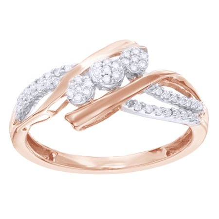 White Natural Diamond Three Stone Cluster Slant Ring in 10k Rose Gold