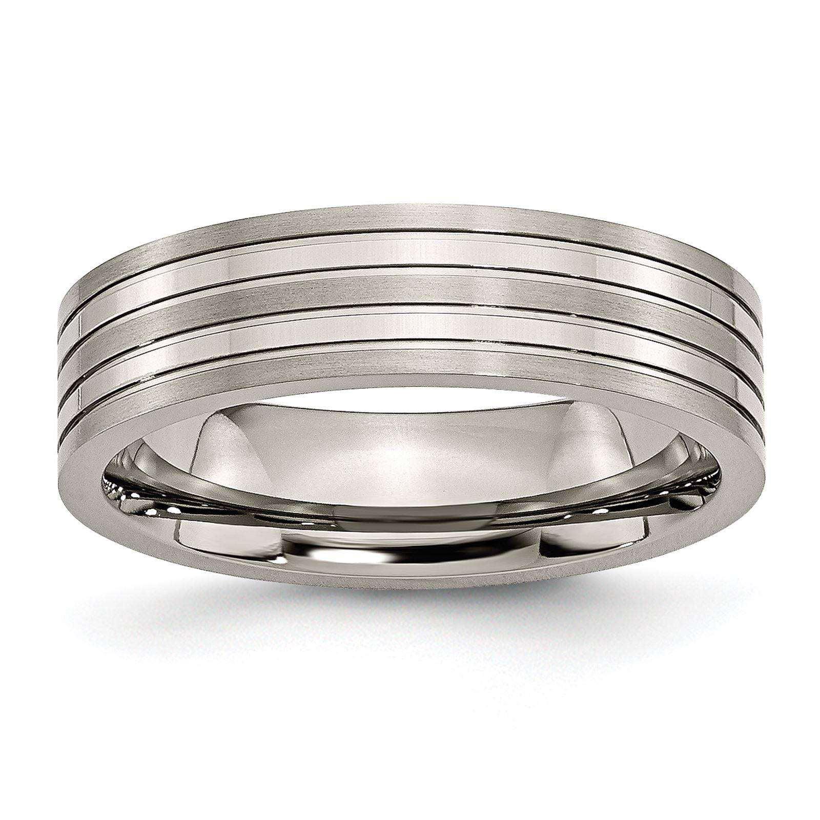 Titanium 6mm Grooved Brushed & Polished Chisel Wedding Band Size 6.5
