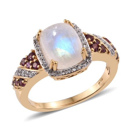 Halo Ring 925 Sterling Silver Vermeil Yellow Gold Rainbow Moonstone Rhodolite Garnet Jewelry for Women Size 8