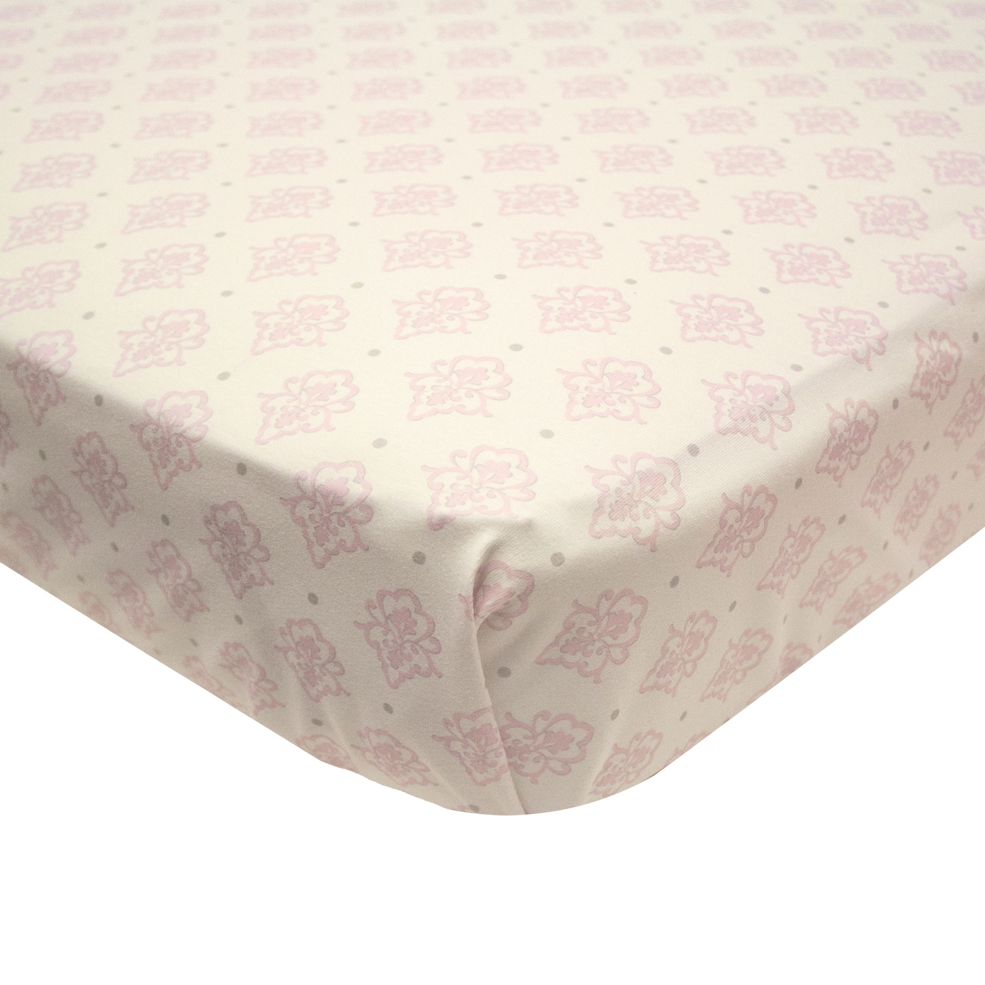 The Peanut Shell Baby Girl Crib Sheet - Pink and White - Arianna Fitted Crib Sheet