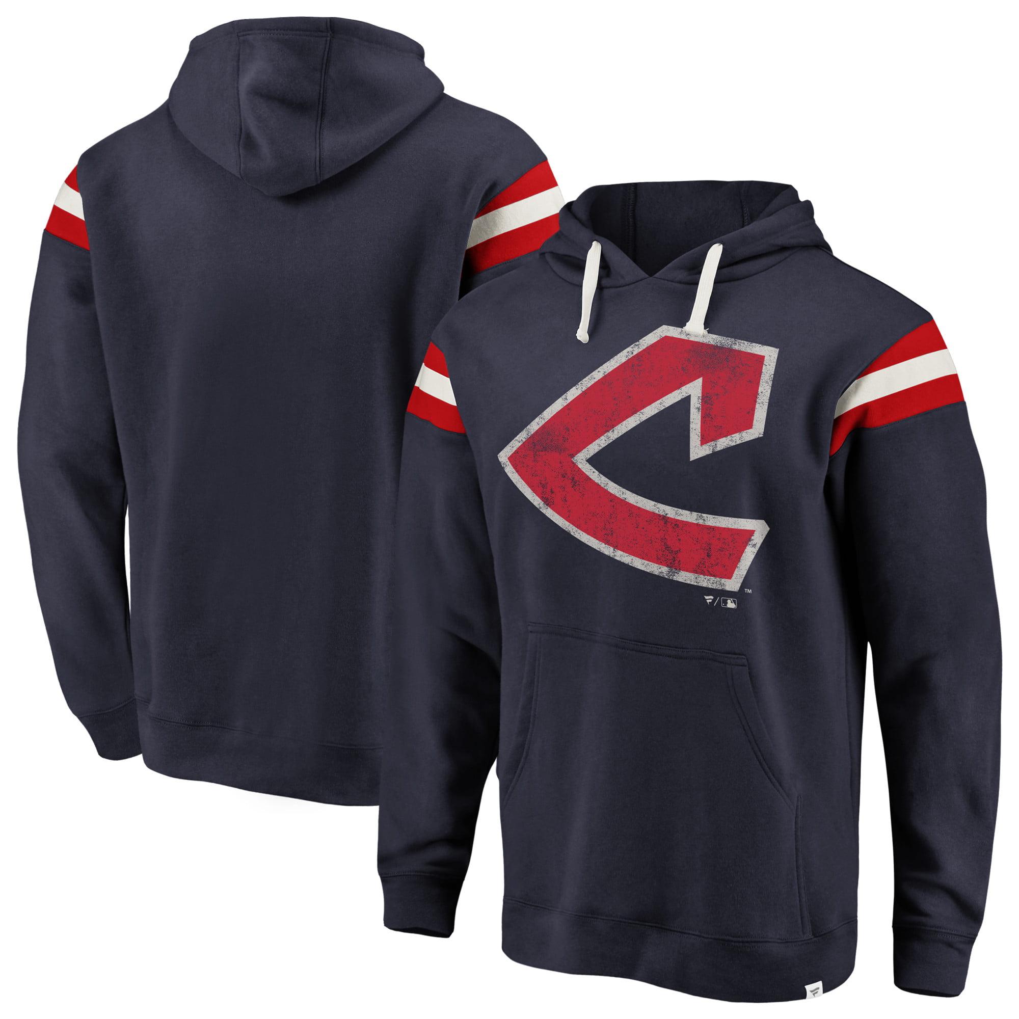 Cleveland Indians Fanatics Branded Big & Tall True Classics Retro Stripe Pullover Hoodie - Navy