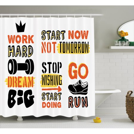 Fitness Shower Curtain Sports Affirmation Positive Quotes Motivational Typography Design Sneakers Fabric Bathroom Set With Hooks Orange Yellow Black
