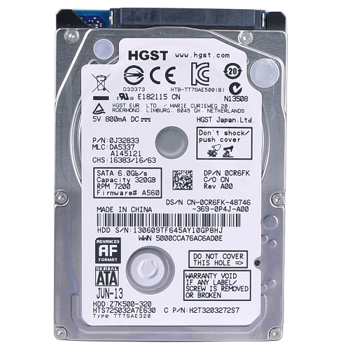 "Refurbished Hitachi Travelstar Z7K500 2.5"" 320GB Hard Drive SATA 600 7200RPM 32MB"