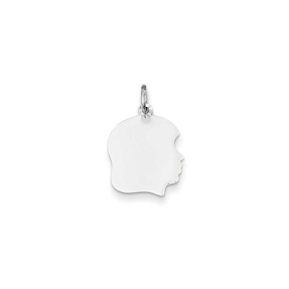 14k White Gold Plain Medium Facing Right Engravable Girl Charm Pendant