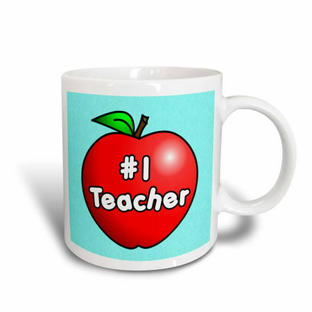Design 24 Ounce Teapot - 3dRose Number One Teacher Red Apple Design, Ceramic Mug, 15-ounce