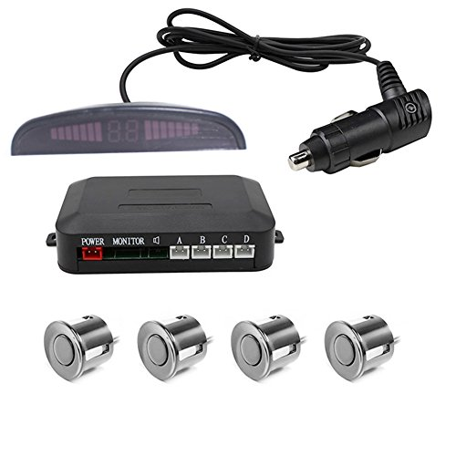 White unbrand Kuwork Parking Sensor Car Reversing Sensors Backup Radar System Buzzer Alarm with 4 Back Sensors