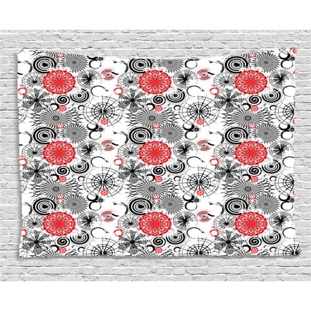 red and black tapestry grunge street art indian mandala themed