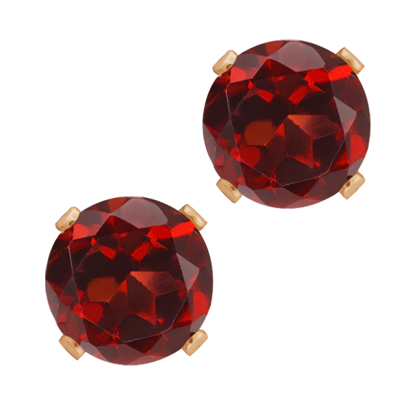 1.20 Ct Round Shape Red Garnet Rose Gold Plated Silver Stud Earrings