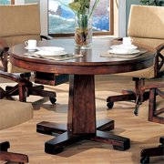 Bowery Hill Round Pedestal Dining Table in Tobacco and Black