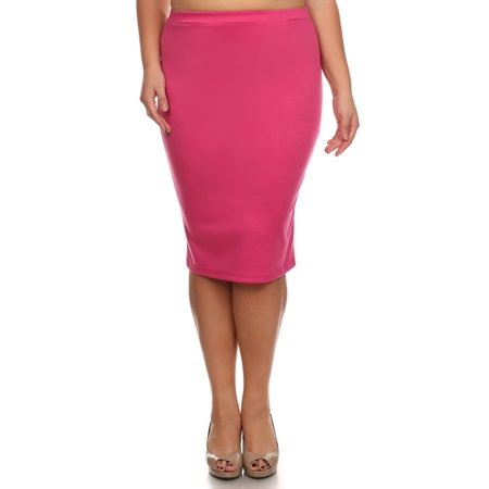 4f1ee19dfe8 MOA Collection - Plus size Women s Trendy Style Solid Pencil Skirt ...