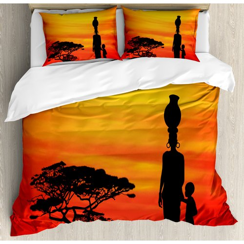 Ambesonne African Rural Countryside Landscape Mother and Child at Sunset Acacia Tree Duvet Cover Set