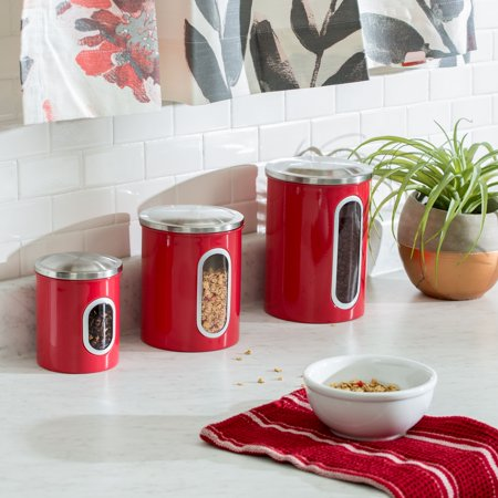 Mainstays 3Pk Metal Storage Canisters, Red