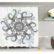 Octopus Decor Shower Curtain Trippy Nautical Mandala Made Abstract Art Tentacle And Floral Elements Design