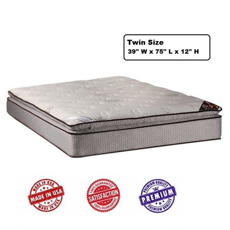 Spinal Dream Plush PillowTop (Eurotop) Twin Mattress Only with Mattress Cover Protector - Sleep System with Enhanced Cushion Support, Orthopedic, Longlasting, Fully Assembled by Dream Solutions USA Plush Latex Sleep System