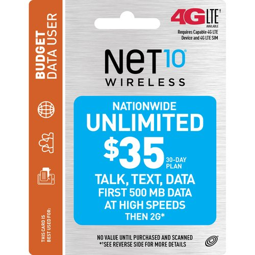 NET10 Wireless $35 30-Day Nationwide Unlimited Prepaid Phone Card