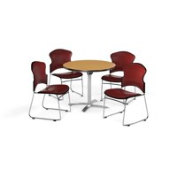 """OFM Multi-Use Break Room Package, 36"""" Round Flip-Top Table with Vinyl Stack Chairs, Oak Finish with Wine Seats (PKG-BRK-053)"""