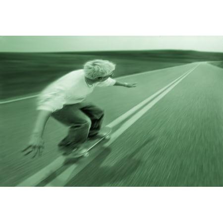 Teenager Skateboarding Down Road Canvas Art - Don Hammond  Design Pics (17 x 11) ()