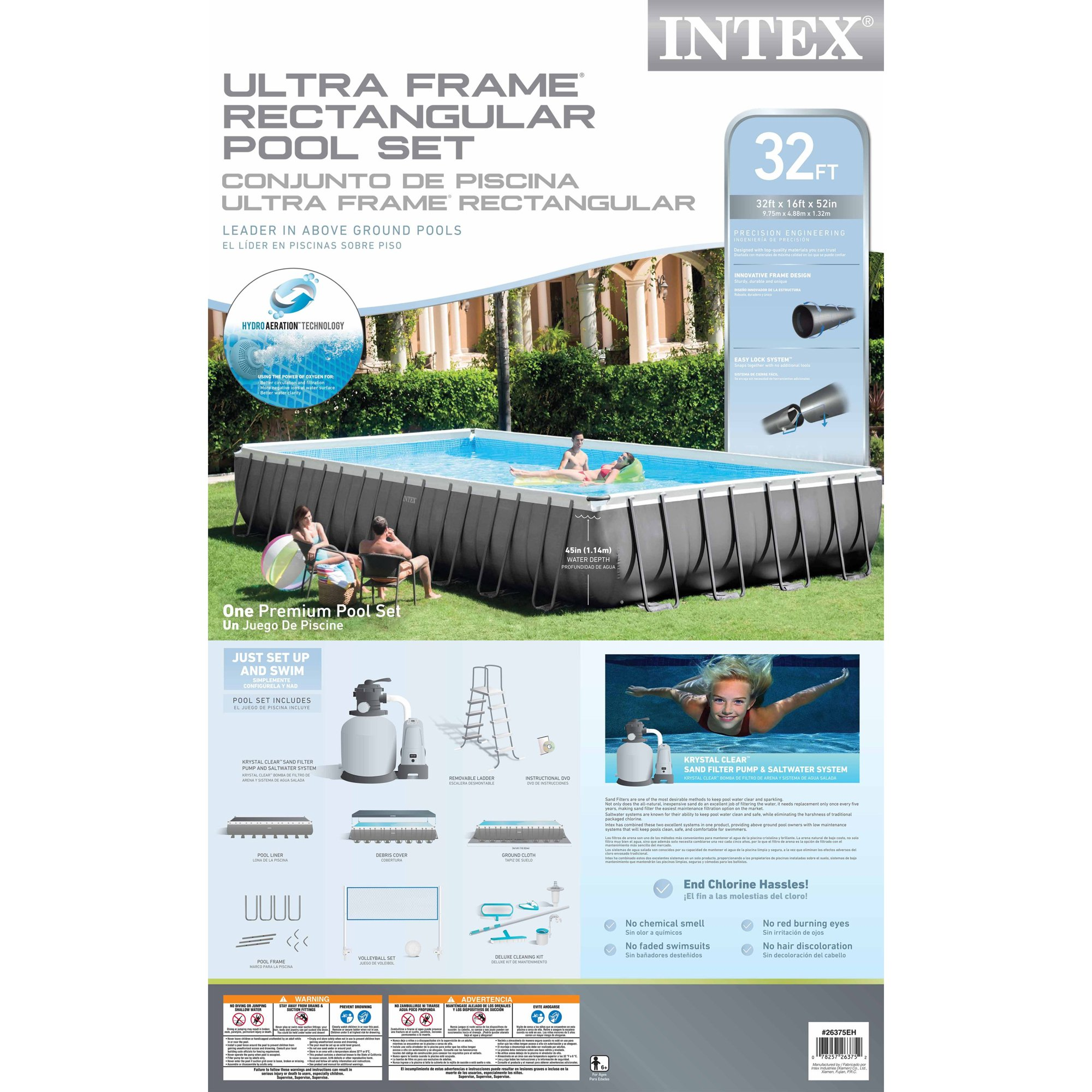Intex 32 X 16 43 Ultra Frame Above Ground Swimming Pool Set Snap Circuitsr Deluxe Sound Light Combo Walmartcom With Sand Pump