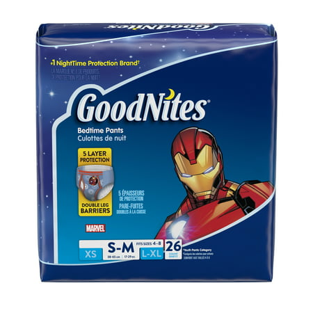 GoodNites Bedtime Bedwetting Underwear for Boys, Size S/M, 26 Count Pull Ups Goodnites Underpants
