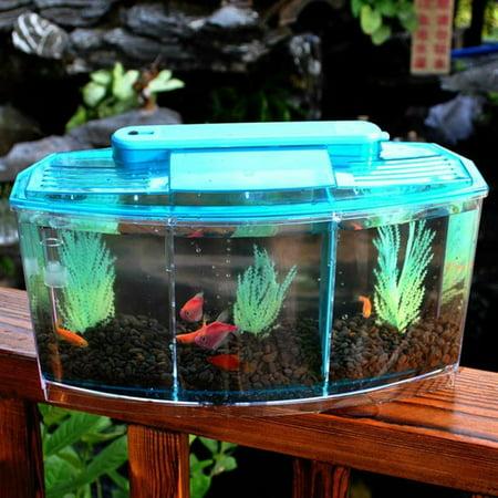 Meigar Separate Breeding Spawning Fish Tank LED Light Triple Cube Betta Aquarium Box for Betta and Small Fish,Filtration Water,Removable (Betta Fish Tanks And Aquariums)