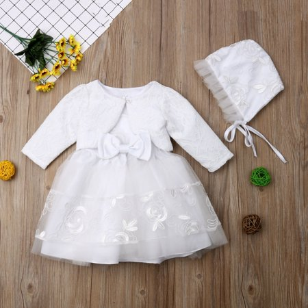 Party Dresses Toddlers (3Pcs Baby Girls Princess Dress White Lace Christening Wedding Party Dresses Ball Gown Clothes Hat)