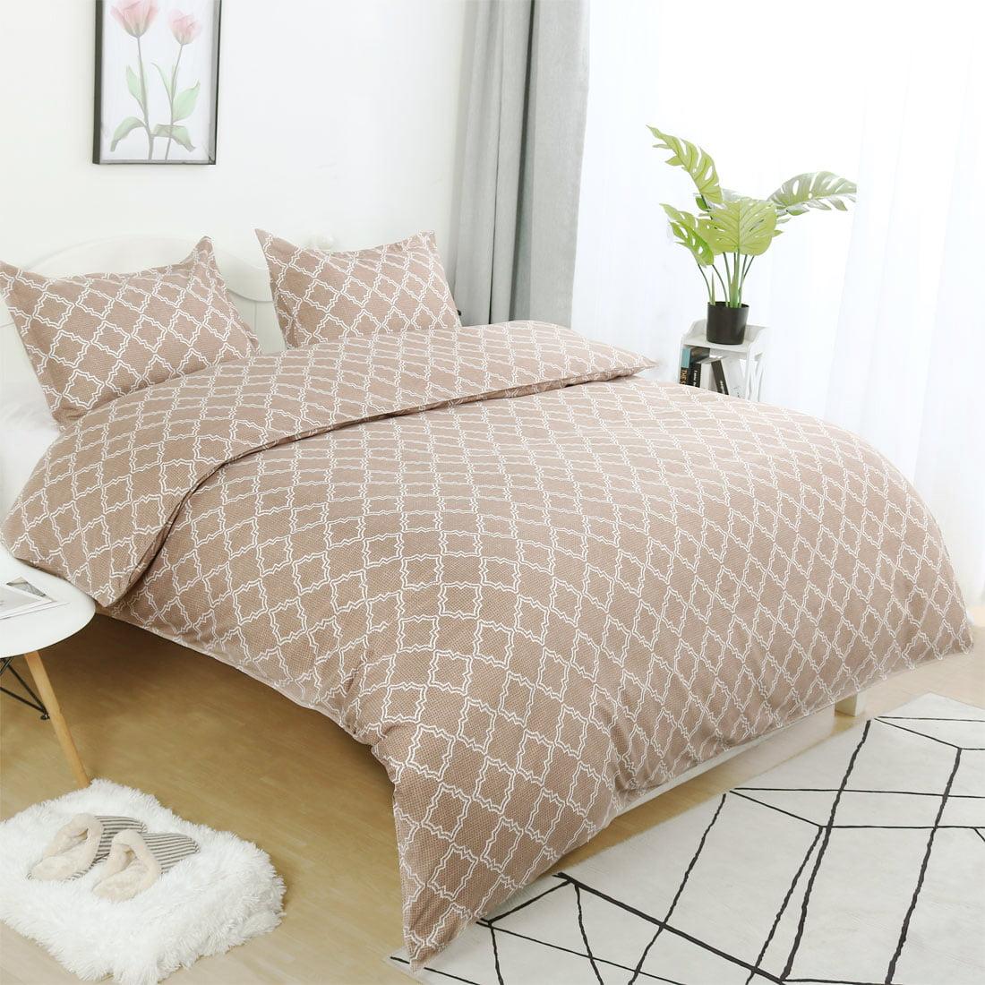 Lattice Pattern Microfiber Duvet Cover Set with 2 Pillow Shams