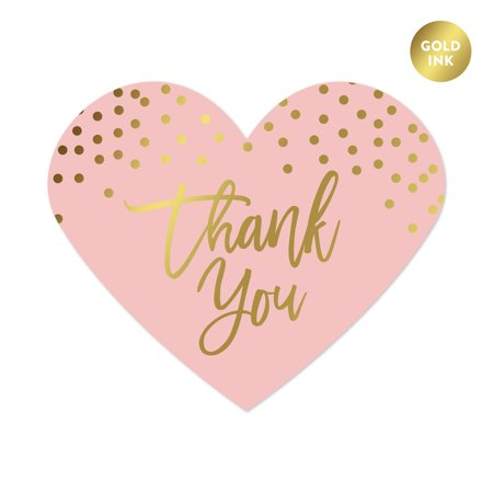 Thank You Sticker (Blush Pink and Metallic Gold Confetti Polka Dots, Heart Label Stickers, Thank You,)