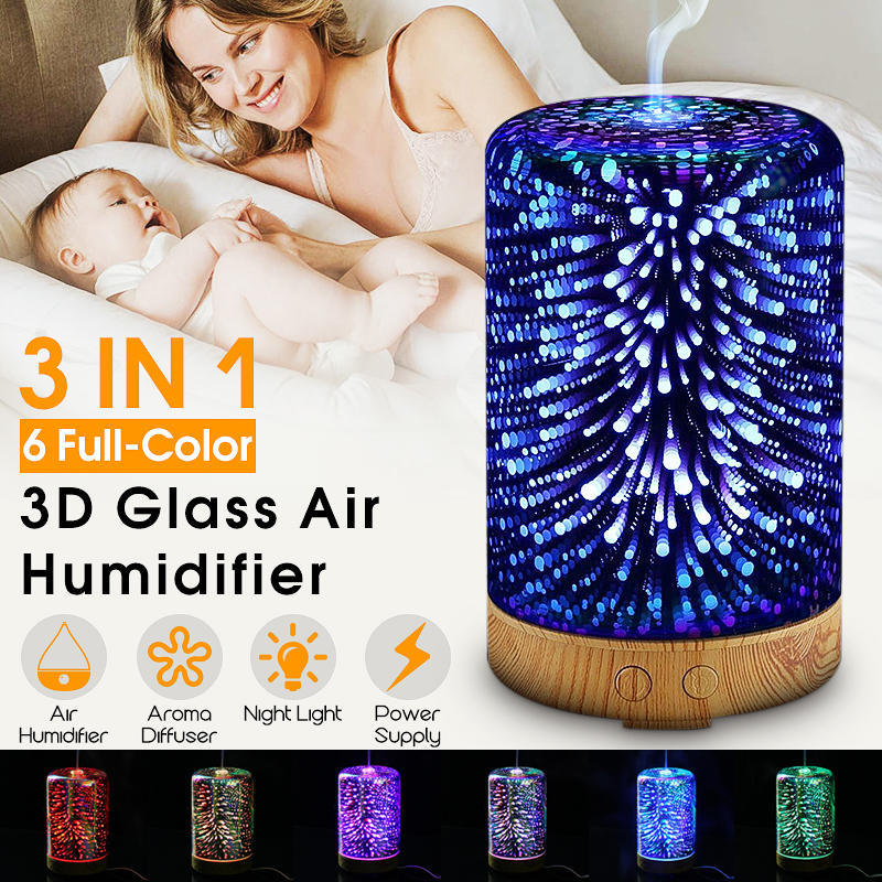 3IN1 3D Glass Light Essential Oil Aroma Diffuser Ultrasonic Air Humidifier Aromatherapy 100ML Essential Oil Color Changing Starburst Night Lights For Home Office 110V/220V