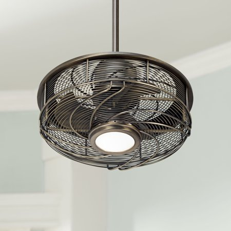 17 Casa Vieja Modern Outdoor Ceiling Fan With Light Led Cage Antique Bronze Frosted White