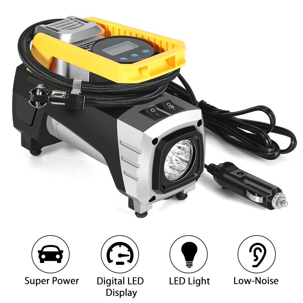 HURRISE Air Compressor Pump DC 12V 120W 150 PSI Car Air Pump with Auto Shut Off Gauge Digital Tire Inflator, Air Pump for Car Tire, Truck, Bicycle, RV and Other Inflatables