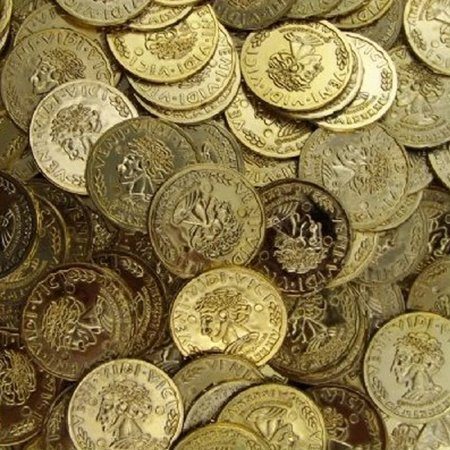 3 BAGS - Toy Plastic Money Gold Coins 144 count bag Pirates Loot Veni Vidi Vici, We'll show you the money! These coins are made of hard plastic and make.., - Pirate Loot Bags