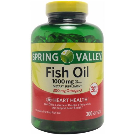 Spring valley fish oil softgels 1000 mg 200 ct for Fish oil 1000 mg