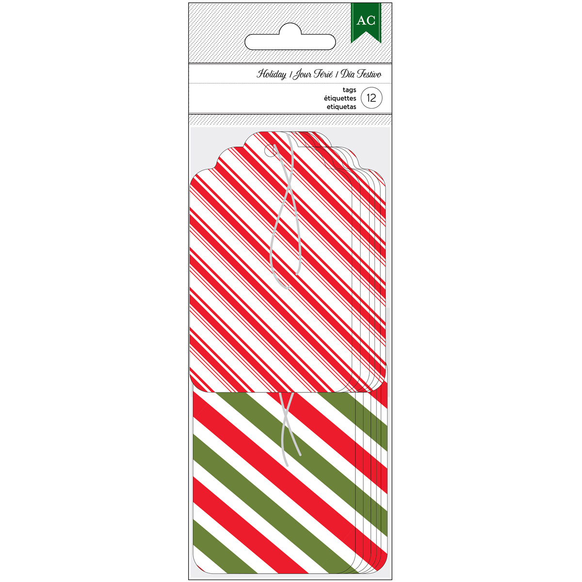 "American Crafts Holiday Tags 12/Pkg-2""X3.25"" Red, Green & White Stripe"
