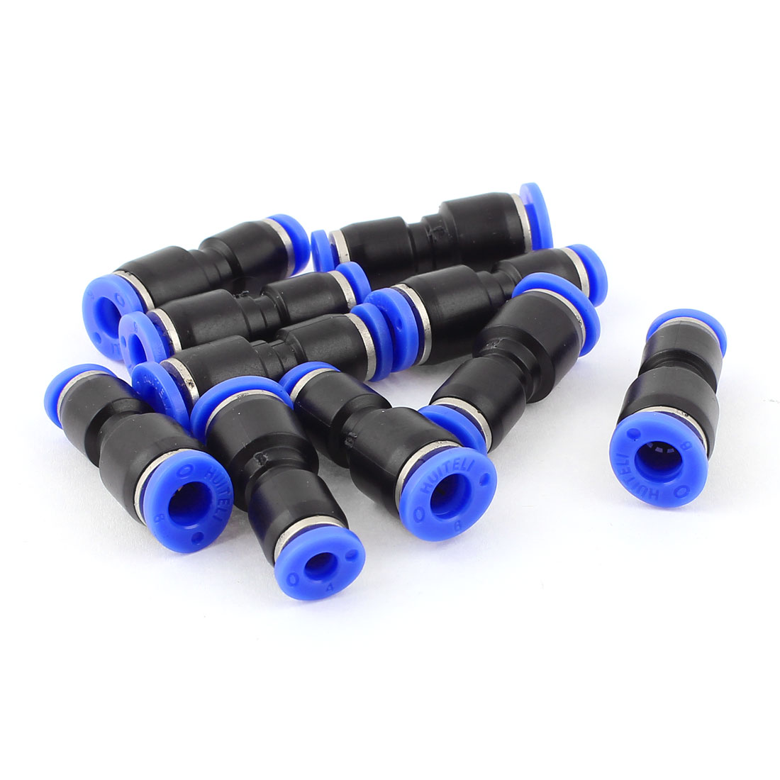 "10pcs 1/4"" to 1/8"" Tube OD 2 Way Straight Push In Pneumatic Quick Fittings"
