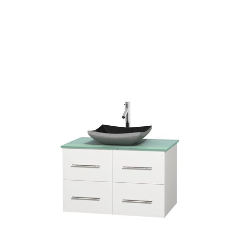 Wyndham Collection Centra 36 inch Single Bathroom Vanity in Matte White, Green Glass Countertop, Avalon White Carrera Marble Sink, and No Mirror (Matte Glass Countertop)