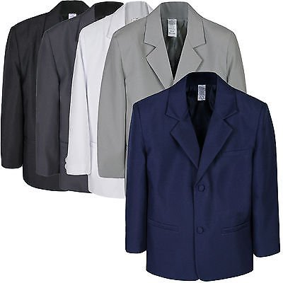 Boy Kid Teen Formal Wedding Party White Navy Blazer Black Gray Jacket Coat S-7