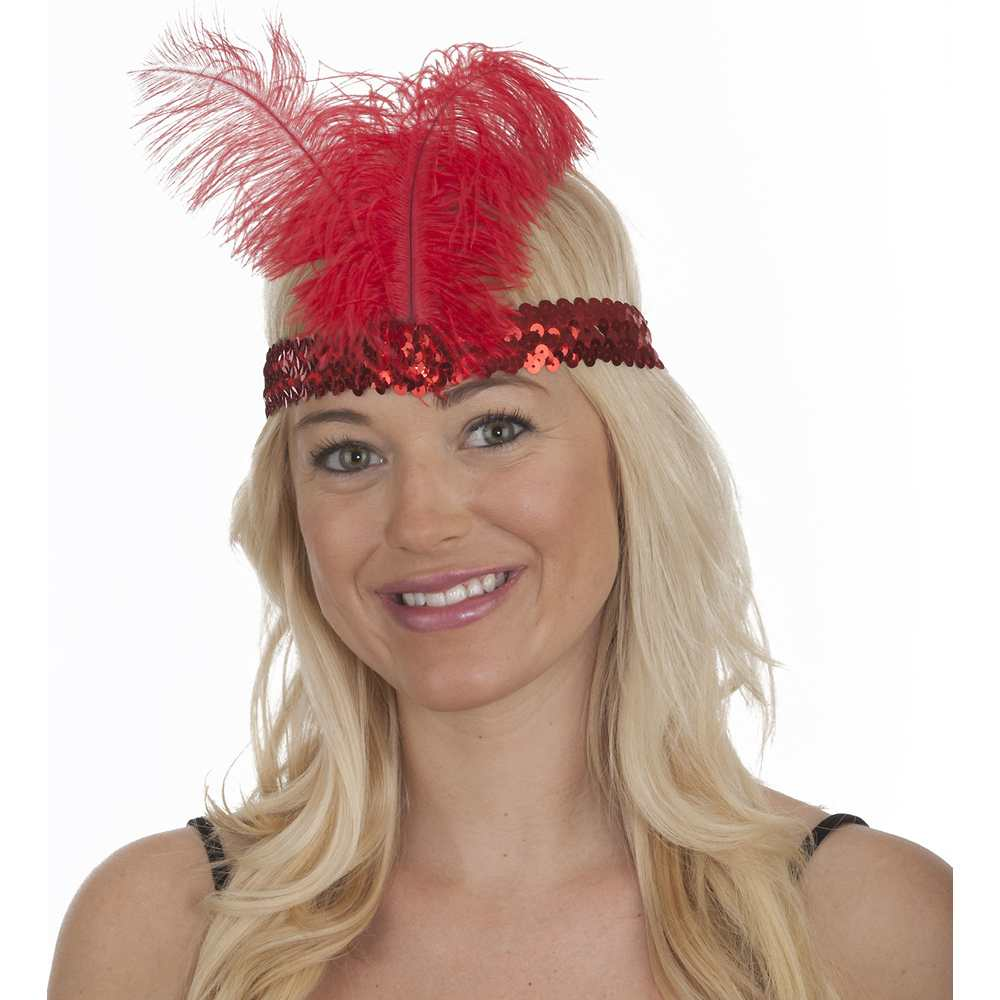 Red Sequin Flapper Band with Feather