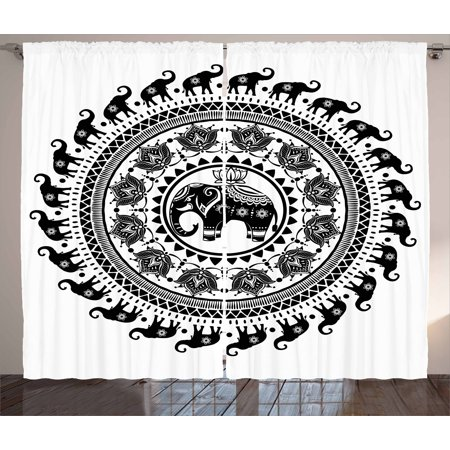Elephant Mandala Curtains 2 Panels Set  Seven Royal Symbols And A Guardian Of Temples Spirit Animal Circle  Window Drapes For Living Room Bedroom  108W X 96L Inches  Black And White  By Ambesonne