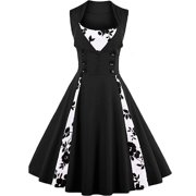 Womens Cut Out Polka Dot Swing Elegent Vintage Sleeveless V-Neck Vintage Casual Cocktail Party 1950 Retro Bridesmaid Dress