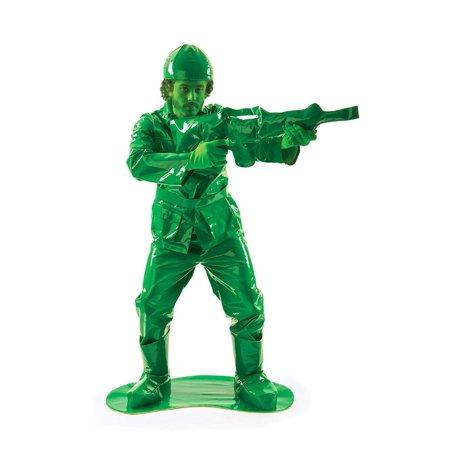 Toy Green Army Man Adult Costume (Funny Army Costume)