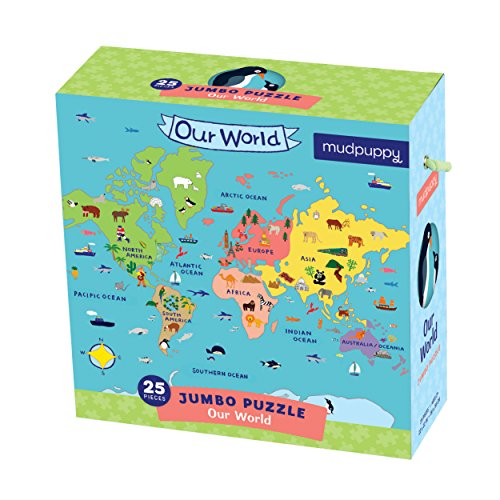 Large Paper World Map.Mudpuppy Jumbo Our World Puzzle A 25 Large Pieces In Kids