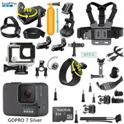 GoPro HERO 7 Silver Edition Touch-Screen Camera + 40 PCS Sports Accessory (Refurbished)
