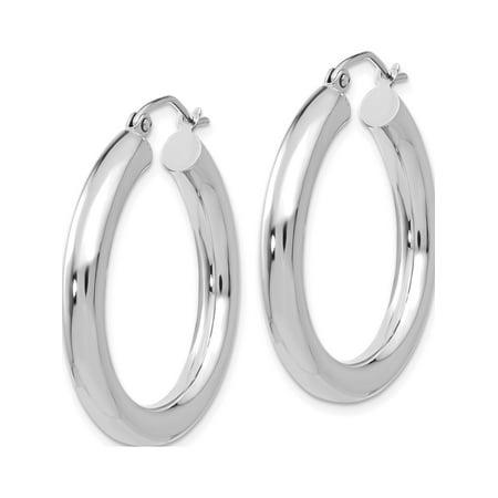 14k White Gold White 4mm x 30mm Tube Hoop (4x30mm) Earrings - image 1 of 3
