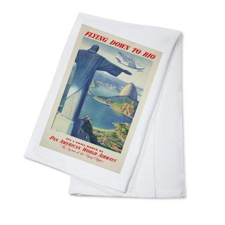 Pan Am - Rio Vintage Poster (artist: Anonymous) USA c. 1936 (100% Cotton Kitchen Towel) ()