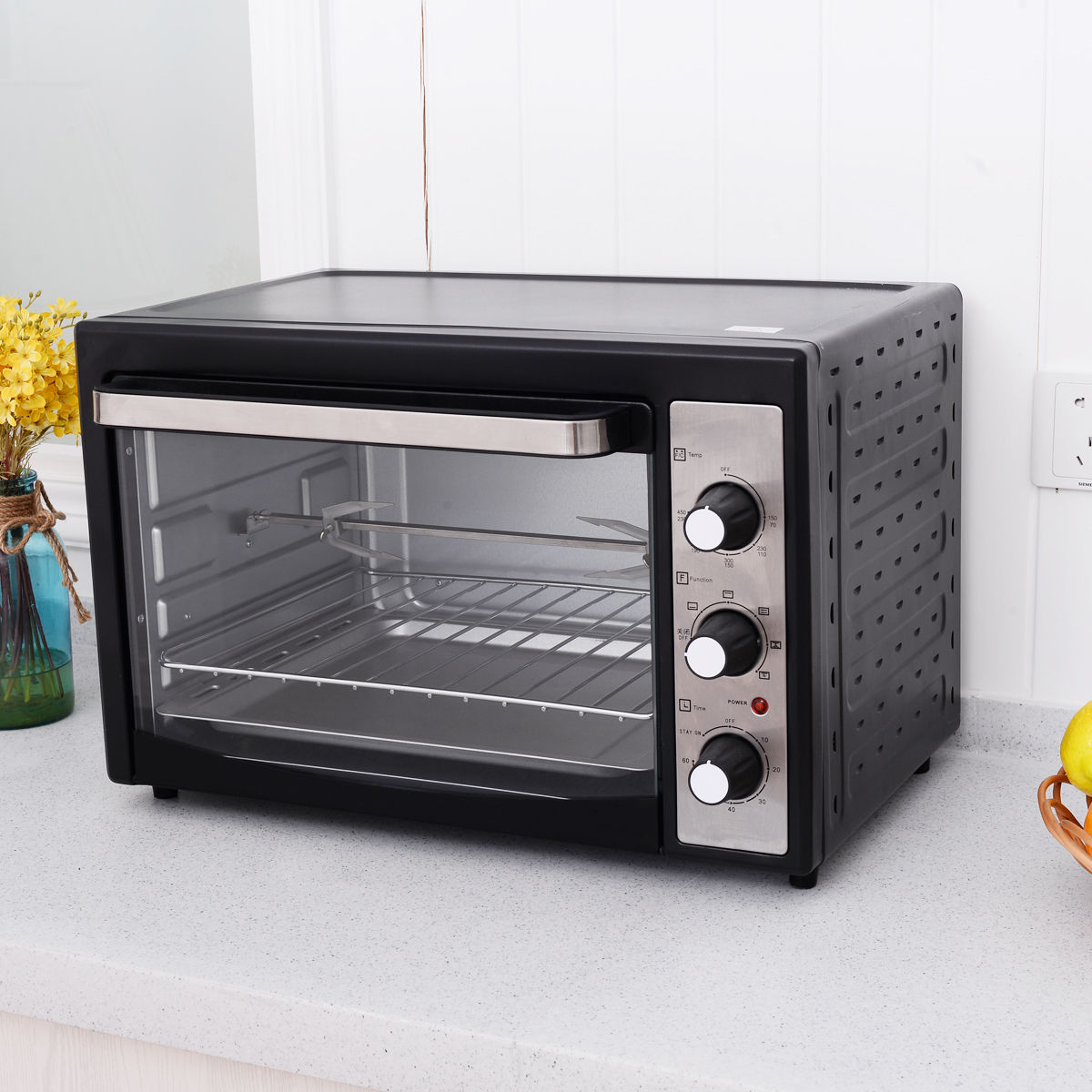 Costway 1800W Electric Toaster Oven Convection Broiler 40L Countertop with Drip Pan