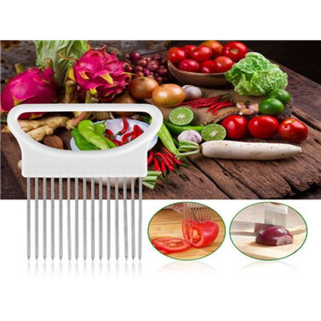 Tomato Onion Vegetables Slicer Cutting Aid Holder Guide Slicing Cutter Safe Fork ()