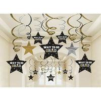 Graduation Metallic Hanging Swirl Decorations (30 Count)